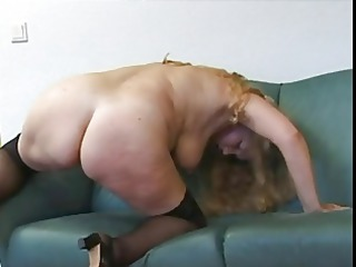 plump albino elderly demonstrates and enjoys with