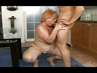 chubby granny obtains a facial from a man