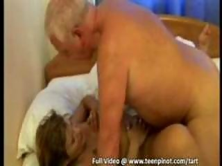 brunette young gang-bangs grandpa