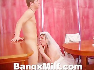 desperate lady in wedding skirt gang-banged