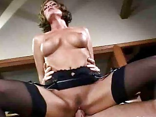 lady tramp with big chest into nylons has tough