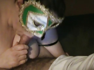 maiden sucks hubby inside mask