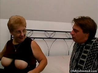 chubby old mom with large chest loves licking