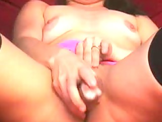 extremely impressive woman brunette pushing dildo