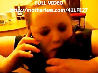 cheating girl blowing bbc with hubby on the phone