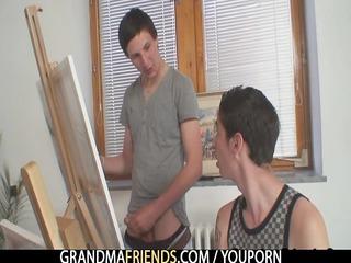 two naughty buddies copulate elderly