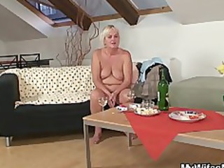 horny bunch gang bang with busty elderly and her