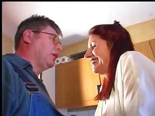 rufous granny calls for a repairman and asks him