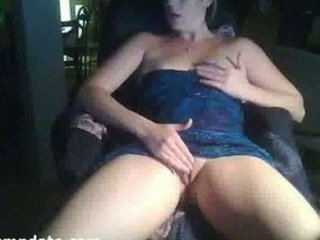 extremely impressive blond milf masturbates on