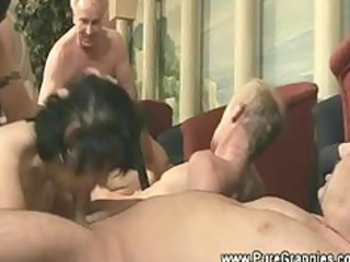 grandmothers gets libido group fuck