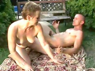 lusty hirsute granny pleasing fuck with a guy