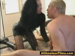woman role pleasing with her dude