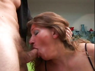 older gets her ass pierced and cum on her chest