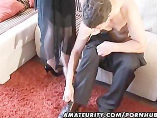 slutty amateur girl licks and gangbangs with