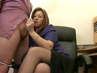 hawt older associate jerks the ball cream from