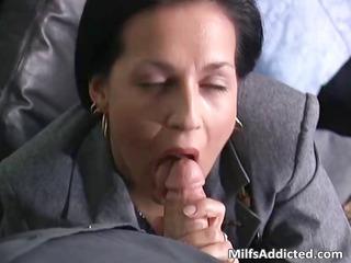 slutty brunette milf associate takes wet