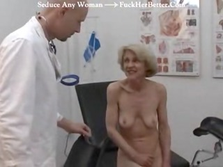 elderly obtains her injection at the doctors