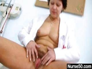 wonderful milf inside doctor uniform stretching