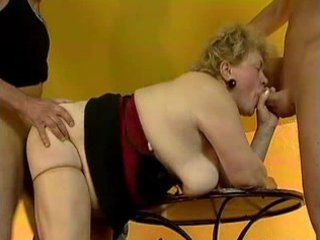 chubby granny grandma takes fucked by two