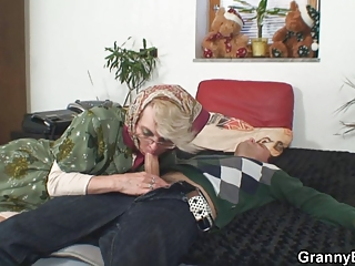slutty grandma gives up her pussy