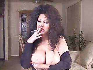 extremely impressive brunette older smoking 120s