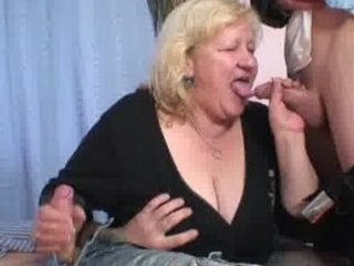 pale grandma takes slammed by two libidos