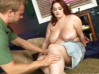 huge boobed milf fatty oils her huge big jugs