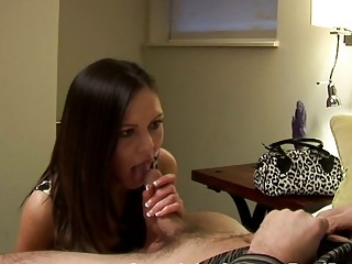 brunette milf gives surprising blowjob