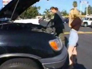 blond woman gives her butt