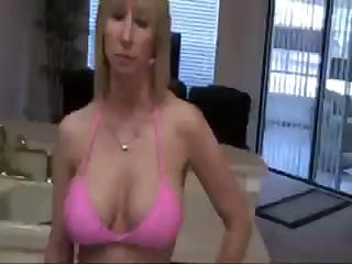 blonde woman is licking on the neighbor boy's