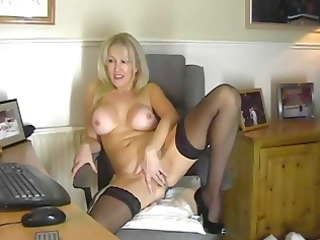 bleached slut inside brown nylons masturbates on