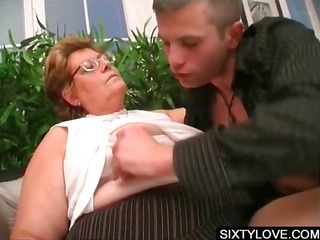 cock licking on knees with grown-up lady