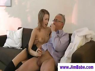 little skirted teen licks old guy