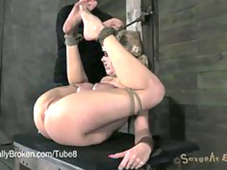 awesome lady banged inflexible in bondage