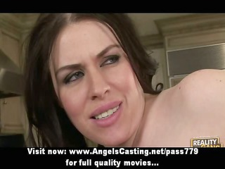 busty brunette woman does penis sucking and is