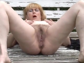 chunky older with hirsute vagina outdoors by troc