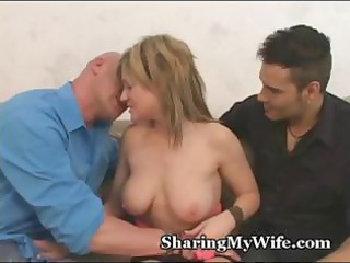 hubby watches when his beautiful pale chick takes