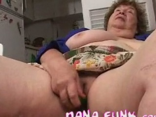 busty gran playing her granny cave with bottle