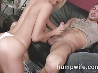 cuckold housewife sucks while guy watches her
