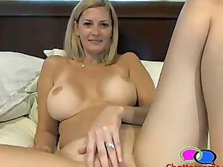 delightful tits milf pushing dildo