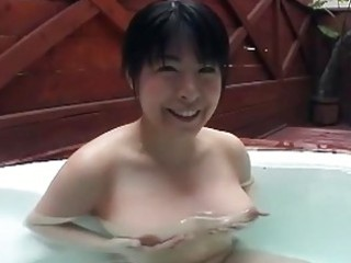gorgeous japanese girl gives busty g...