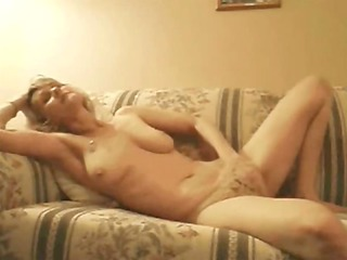 bleached mature pushing dildo