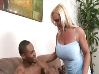 blonde lady having mixed sex at house