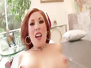 extremely impressive redhaired lady rides cock