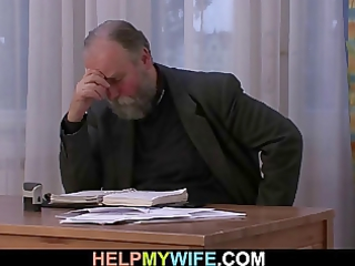 old guy pays him to fuck his amateur housewife