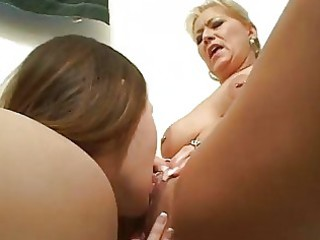 horny homosexual chick learns from cougar