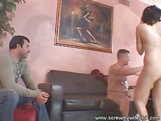 housewife on tongue and hand gang-banging
