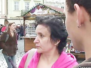 elderly tourist jumps on penis