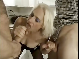 slutty pale elderly obtains on two young studs