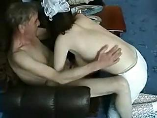 grandpa got a lively amateur russian young to